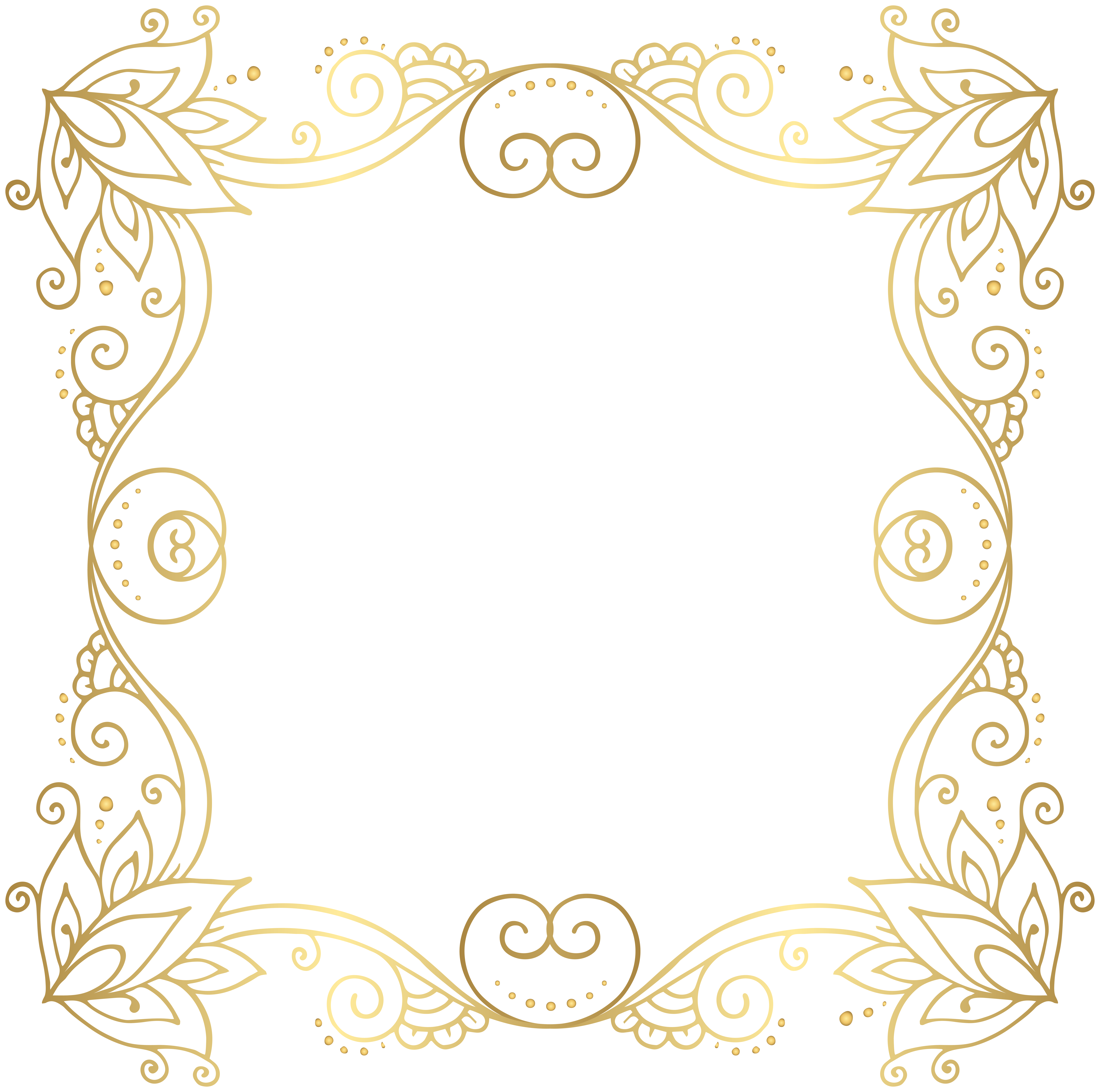 Magic clipart decorative swirl. Gold border frame png