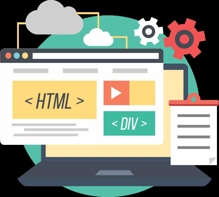Design development content seo. Website clipart conversion
