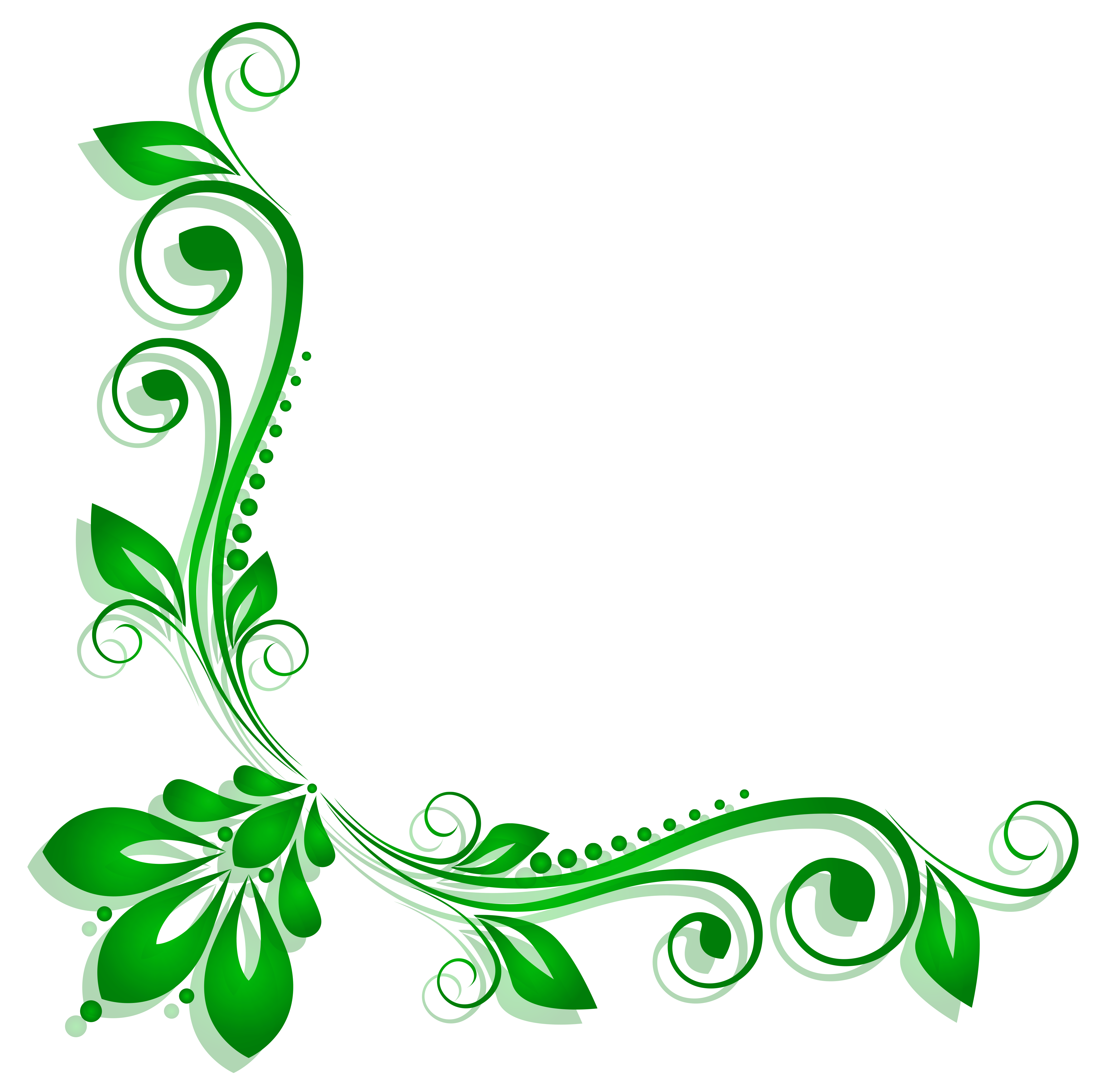 Green flower png. Floral deco clipart gallery
