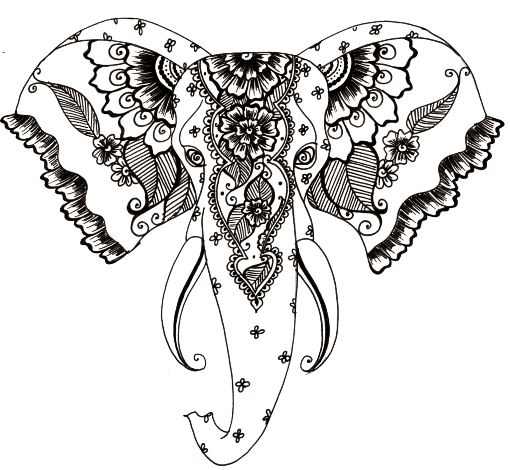 Design drawing at getdrawings. Elephant clipart henna