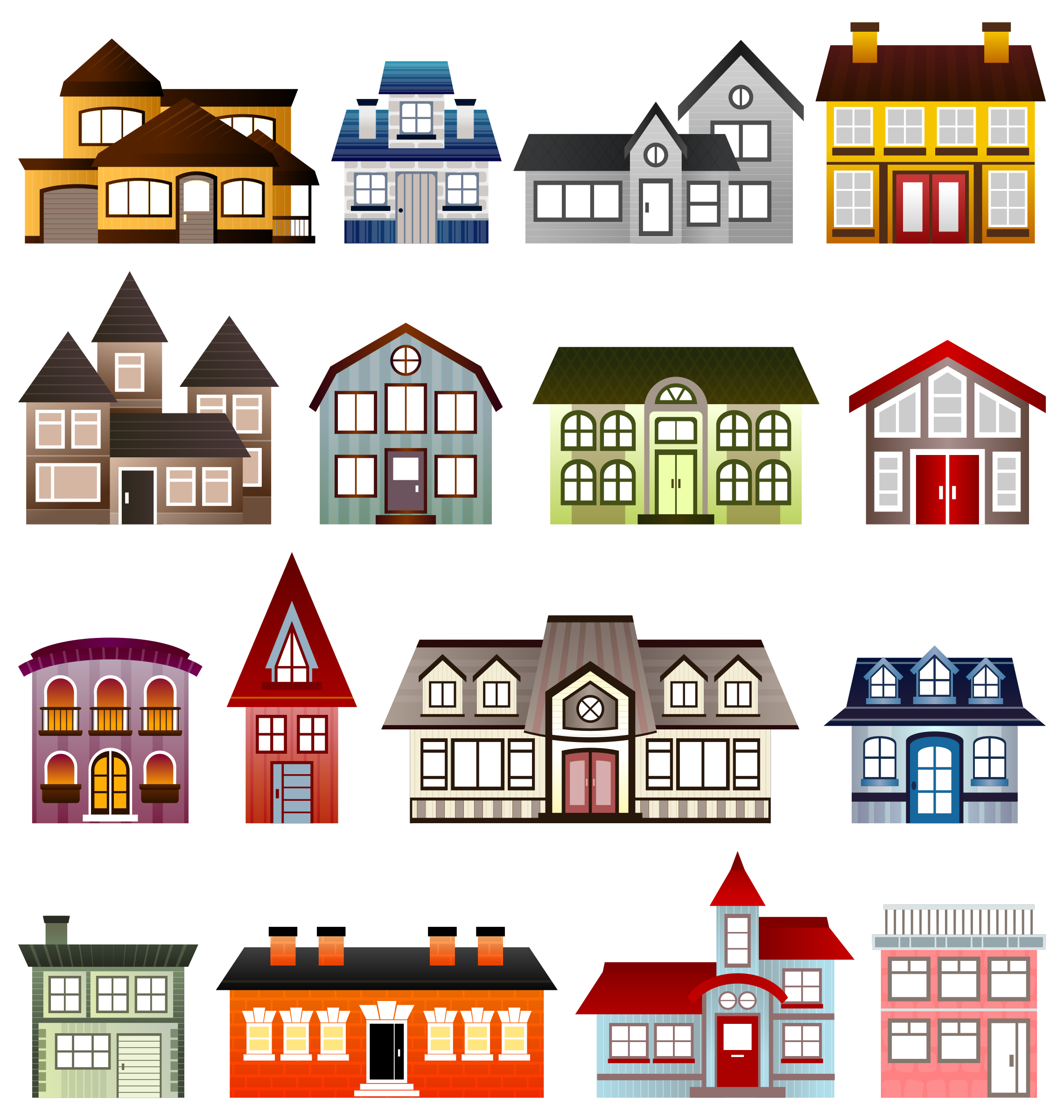 Simple houses big image. Home clipart place