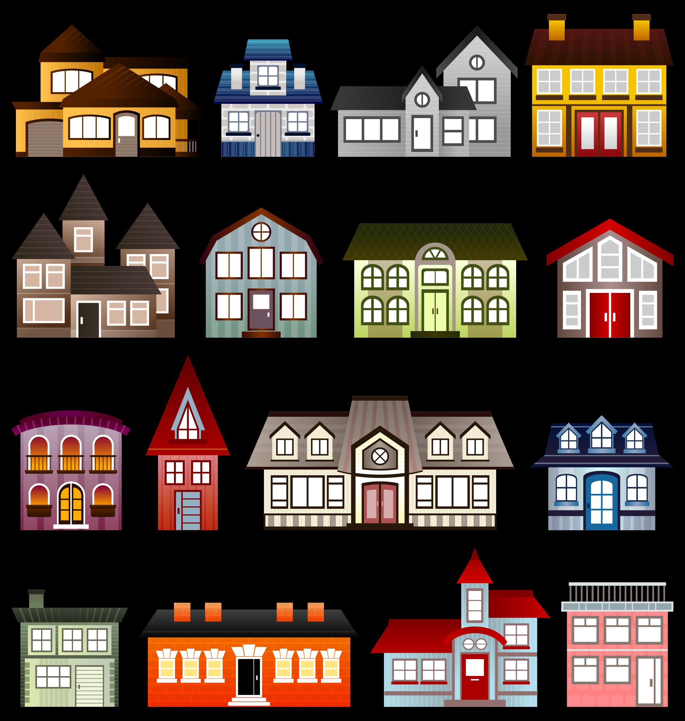 House clipart cartoon. Simple houses big image