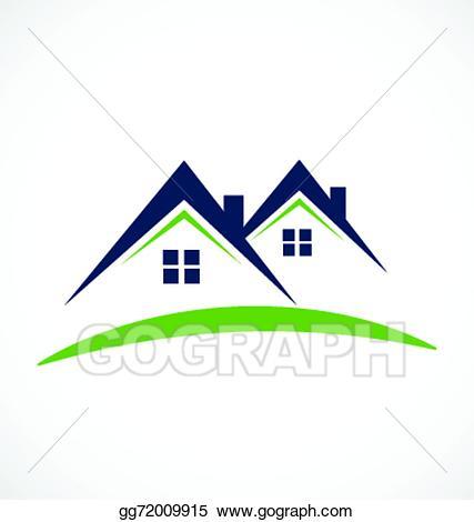 Vector business card design. Houses clipart logo