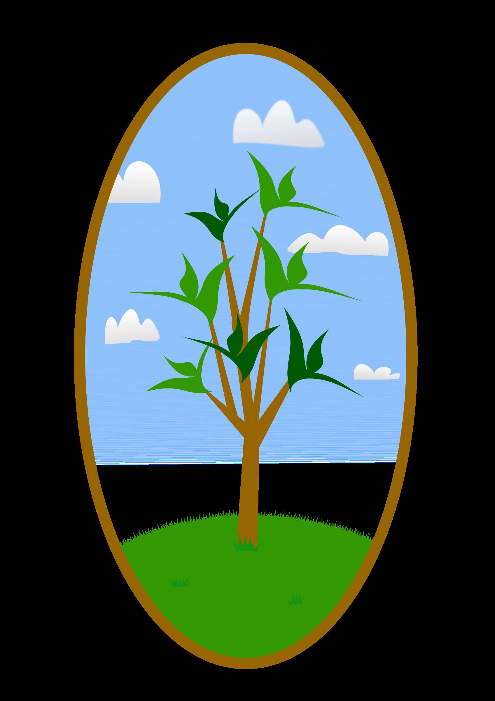 Landscape clipart land scape. Oval tree big image