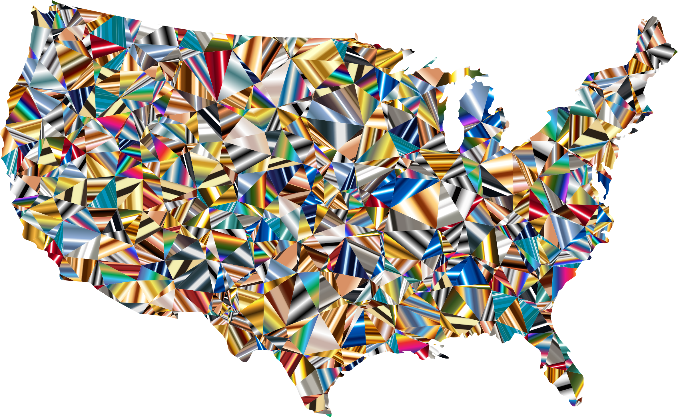 Psychedelic low poly america. Clipart map map united states