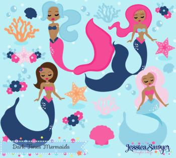 Dark tone or summer. Mermaid clipart skin
