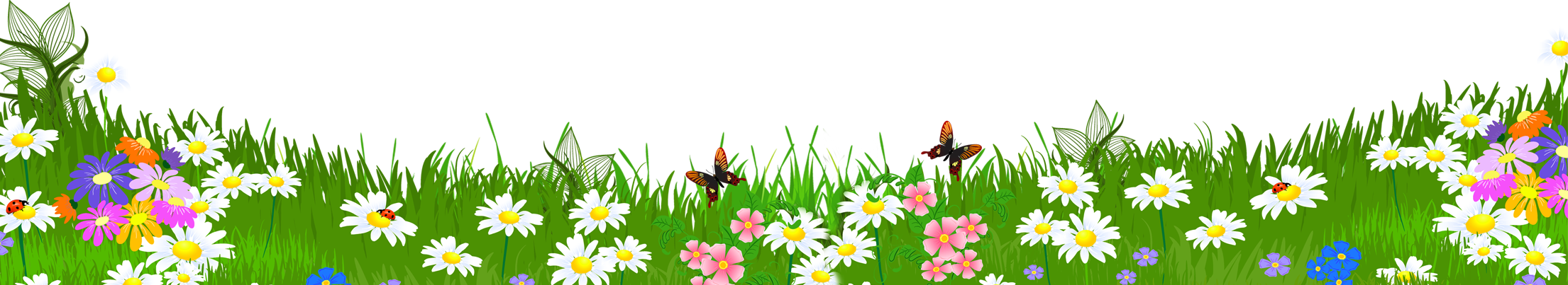 Clipart designs nature. Grass ground with flowers
