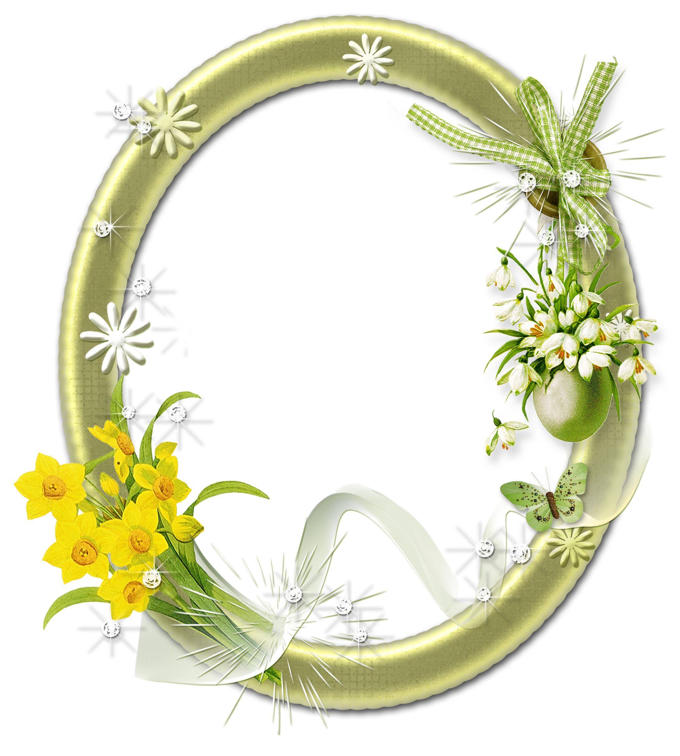 Oval frame png. Cute photo with flowers