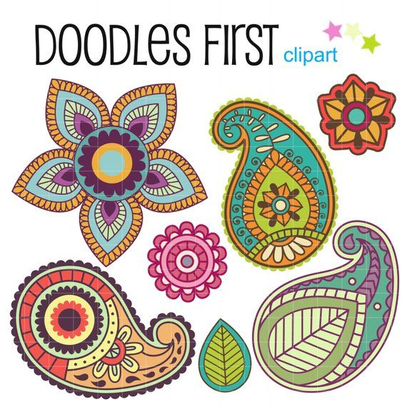 Pretty digital clip art. Paisley clipart basic