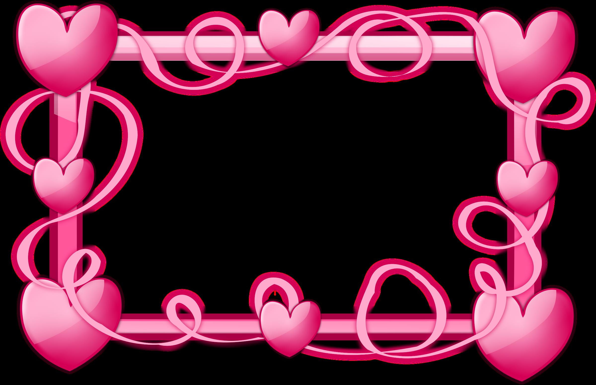 Landscape clipart border design. Pink hearts frame big