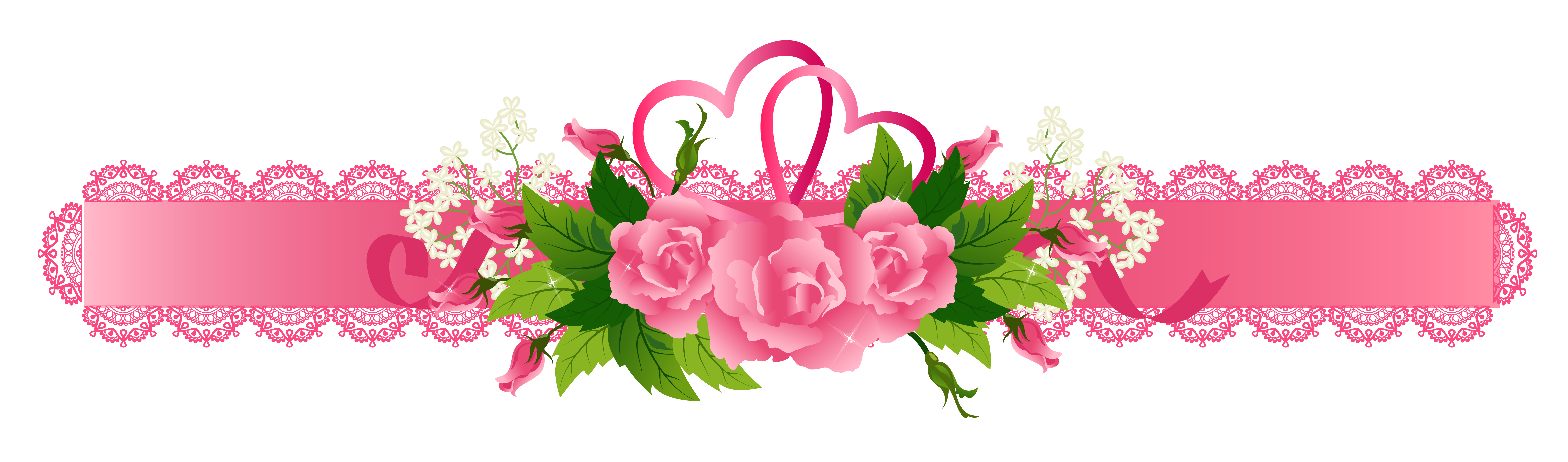 Decorative ribbon with roses. Clipart design pink