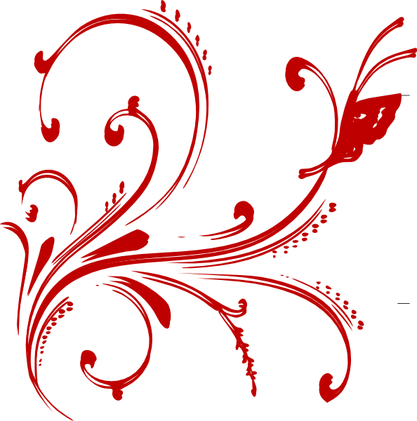 Floral design invite clip. Clipart designs red