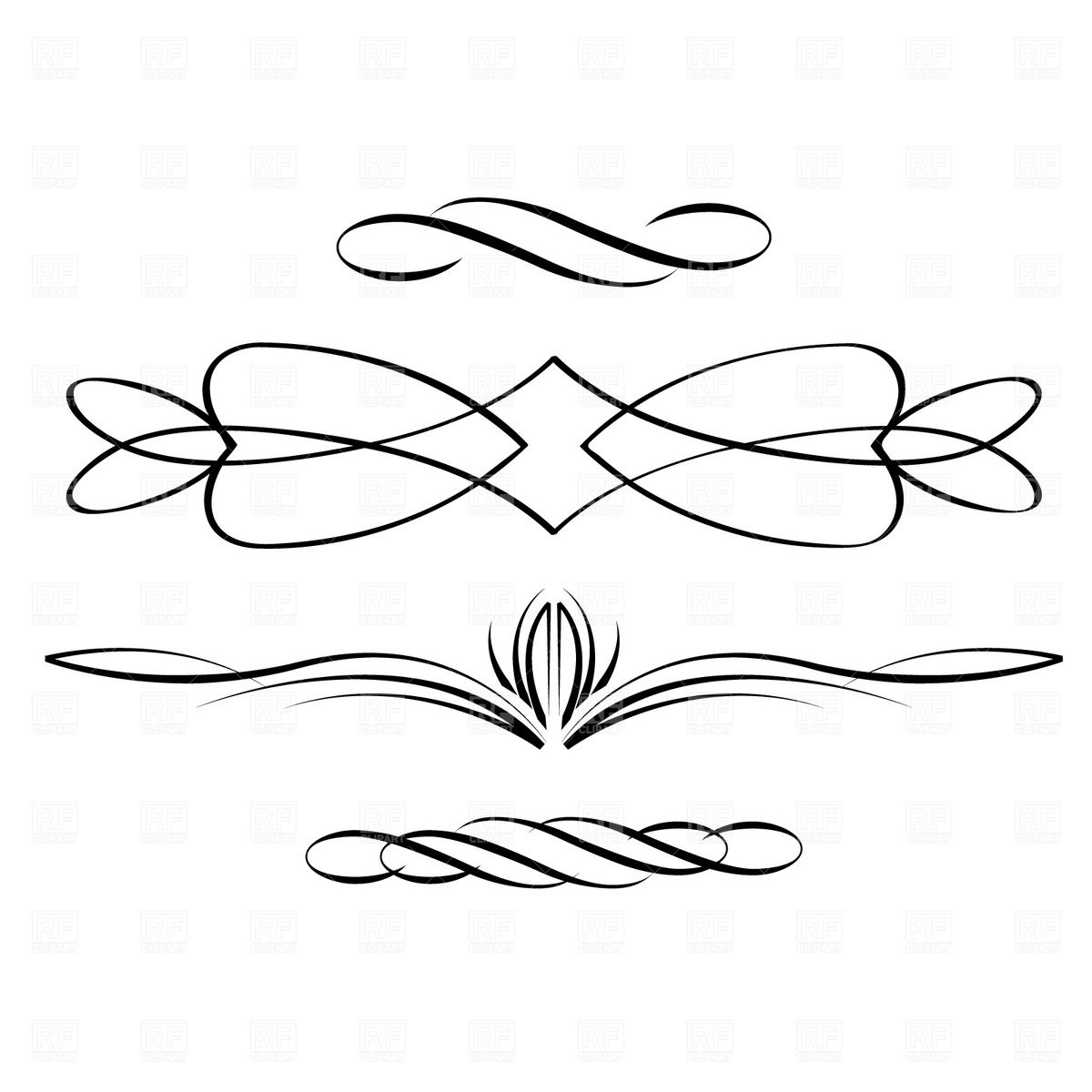 Scroll clipart line. Free scrolling designs cliparts