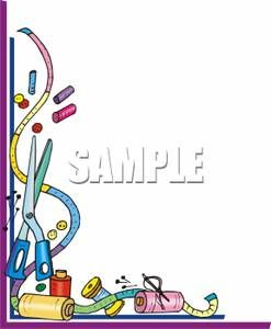Clip art border measuring. Quilting clipart sewing supply