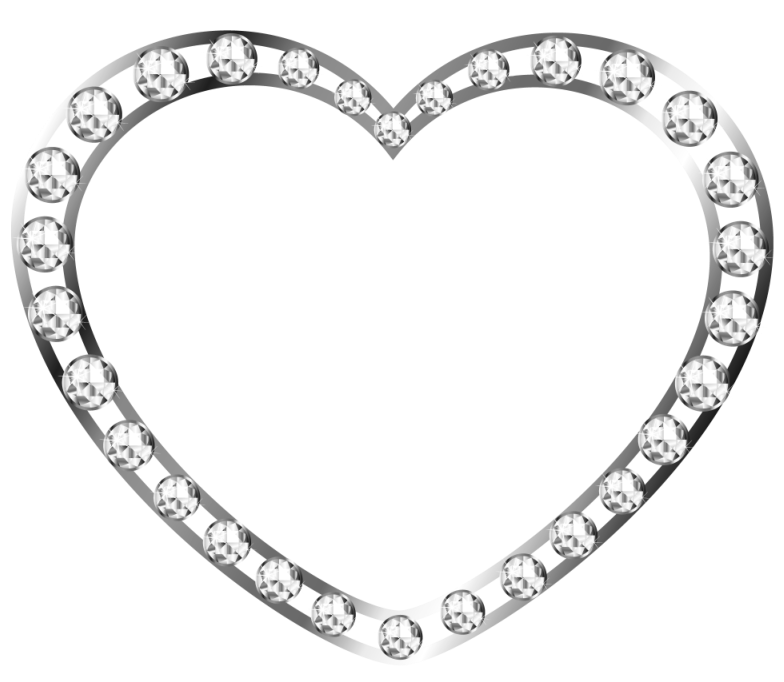 Heart with diamonds free. Color clipart silver