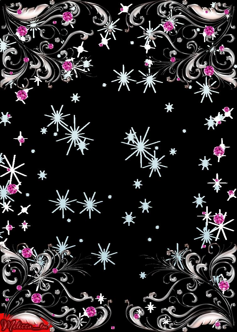 Swirls and pink gems. Clipart design silver
