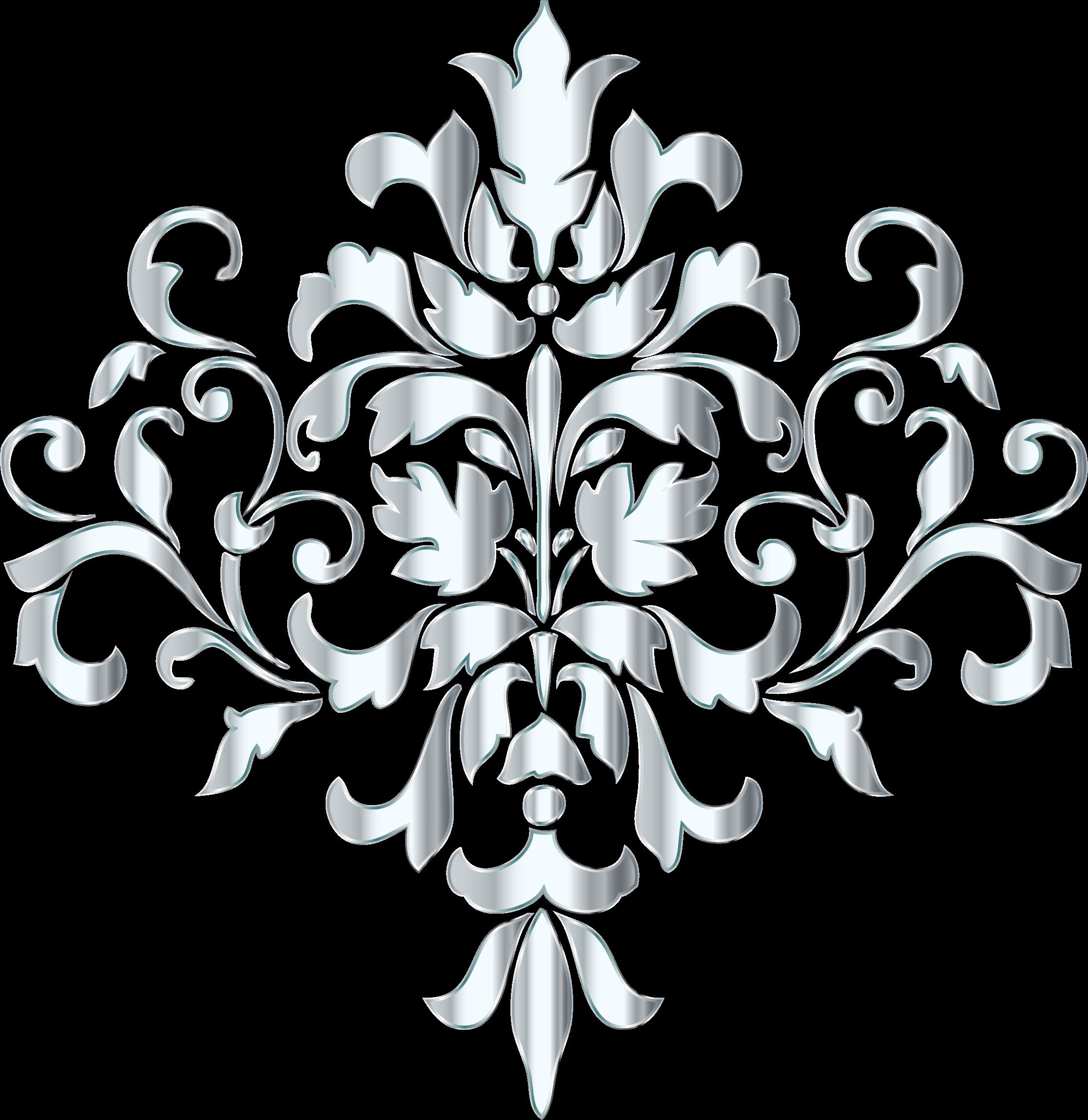 Damask design no background. Flourish clipart silver flower
