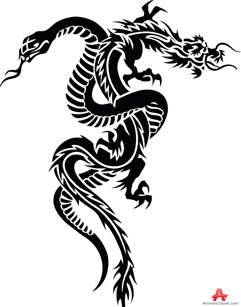 And dragon tribal tattoo. Snake clipart design
