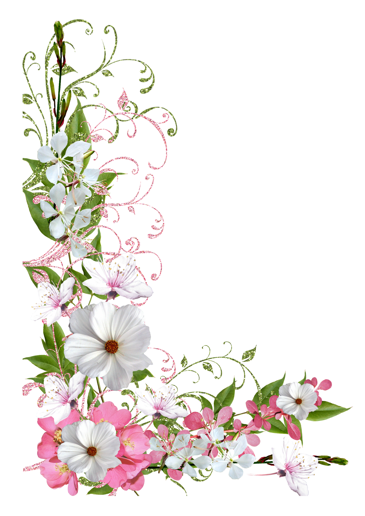 Pink and green spring. Floral clipart pastel