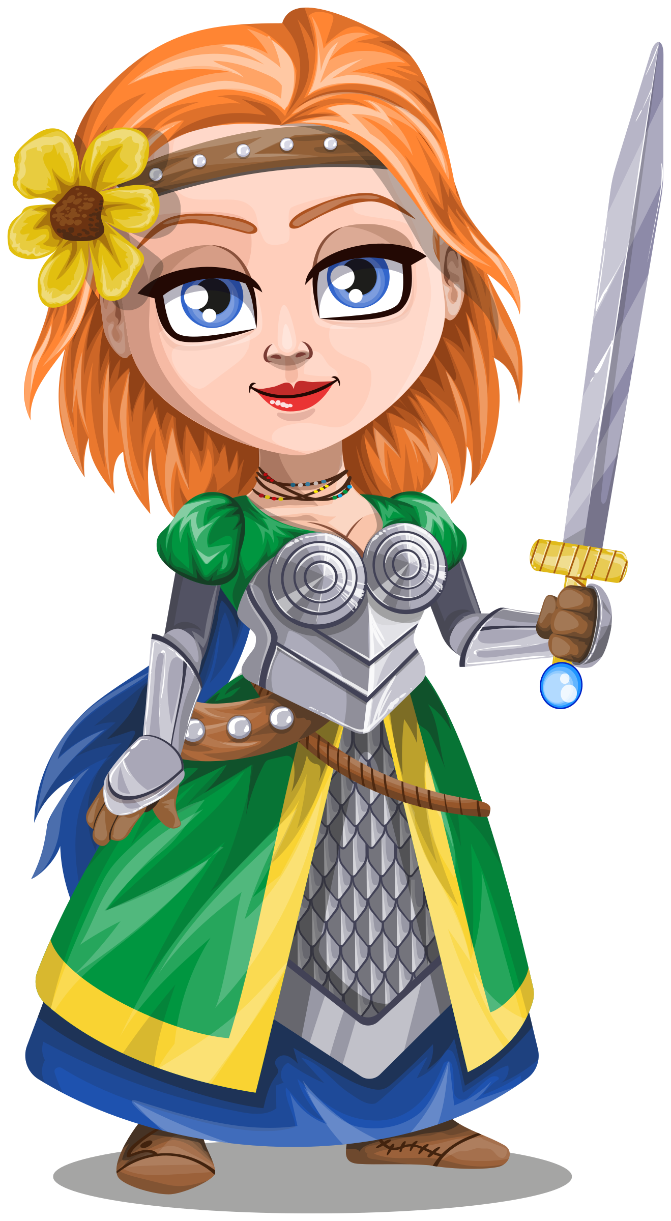 Knight warrior in armor. Knights clipart woman