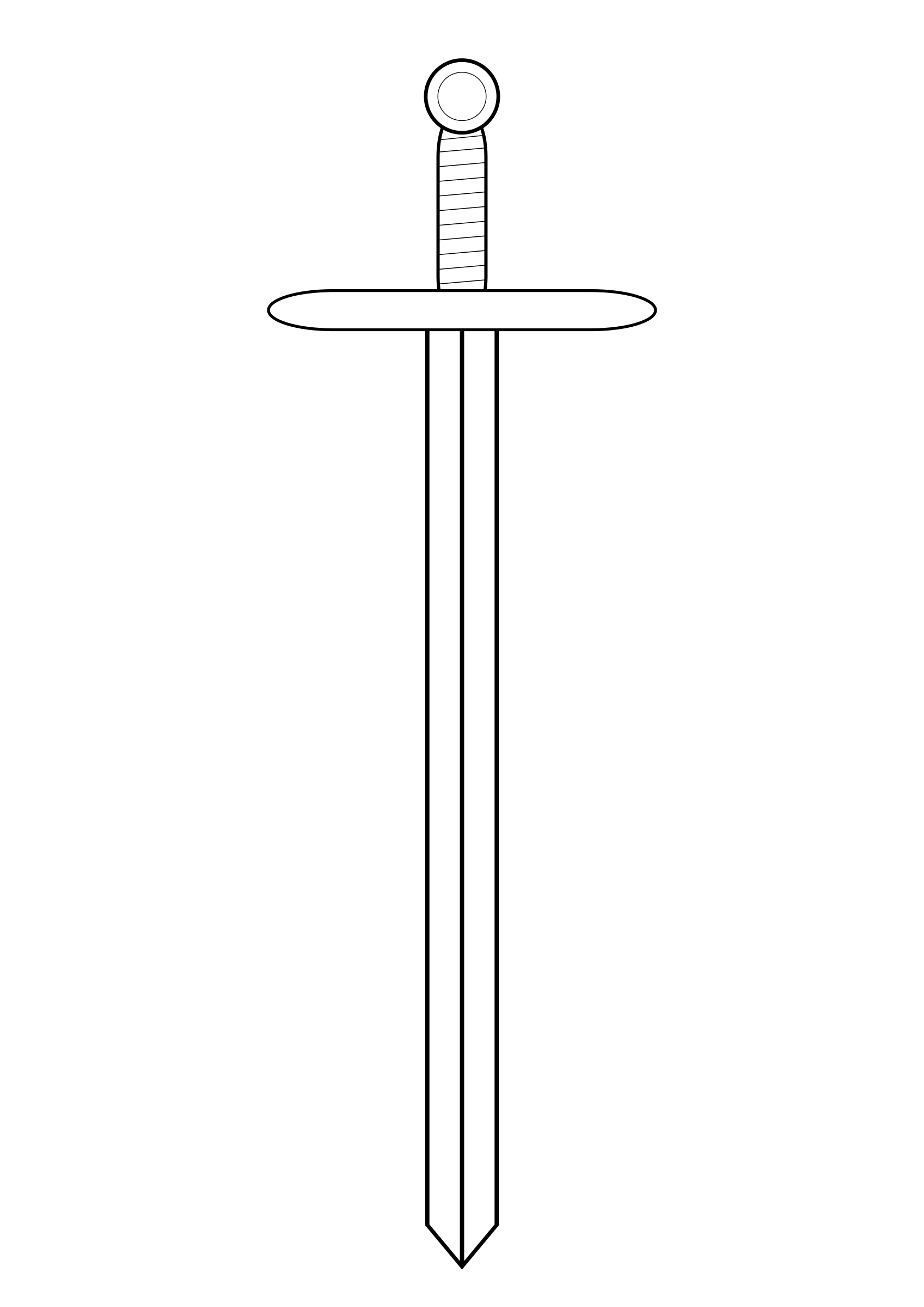 Line art big image. White clipart sword