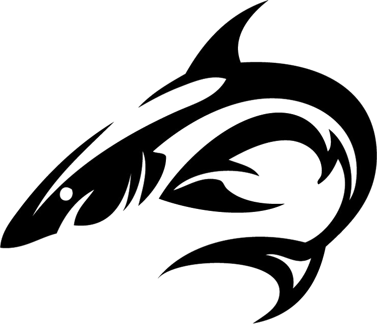 Tribal tattoo isolated stock. Clipart shark word