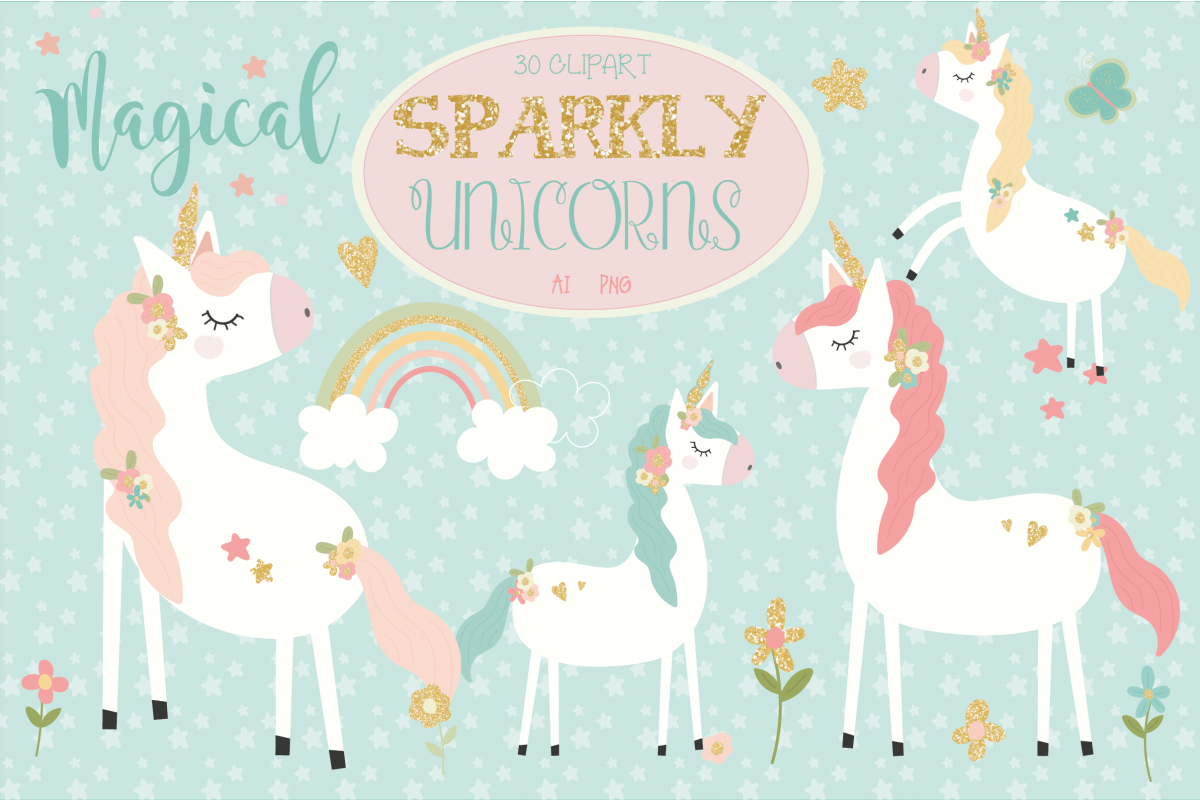 Sparkly unicorns by poppymoondesign. Clipart unicorn design