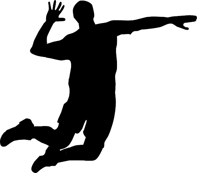 Player hitting silhouette panda. Hand clipart volleyball