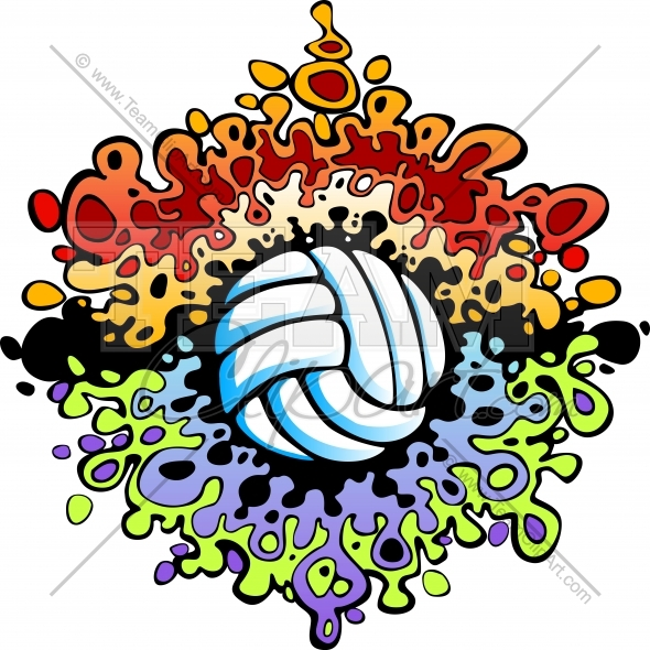 Fun graphic image with. Clipart volleyball design