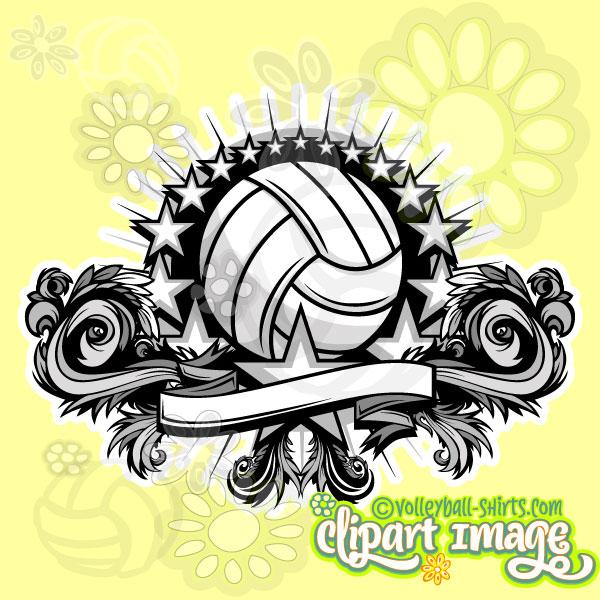 Volleyball clipart design. Star unique library