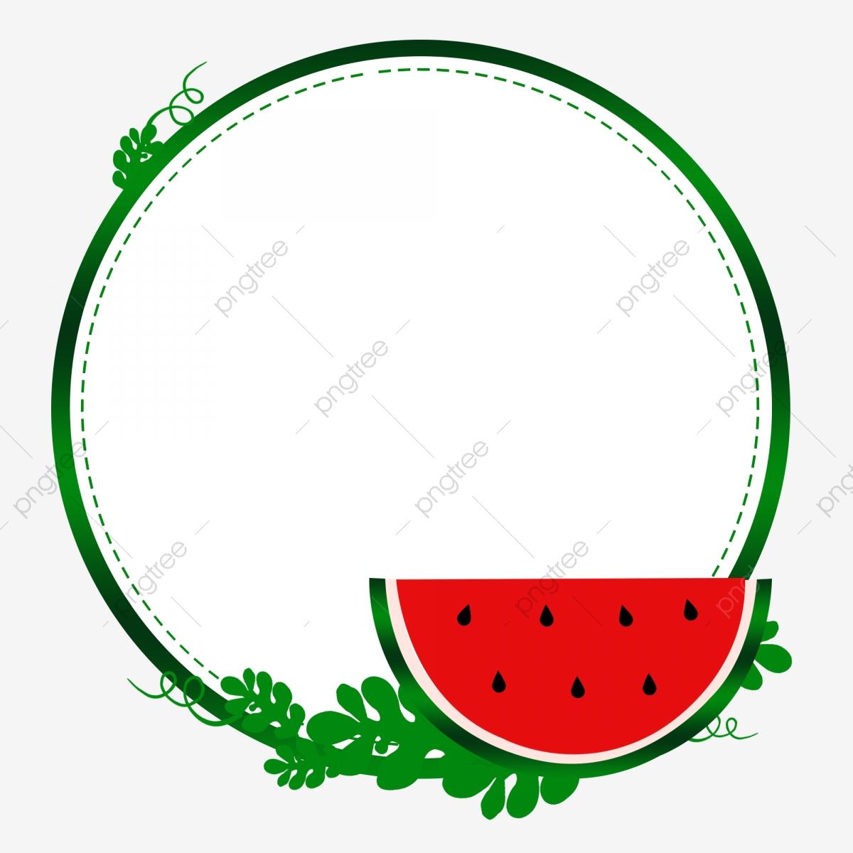 Watermelon clipart border. Fresh summer design fruit