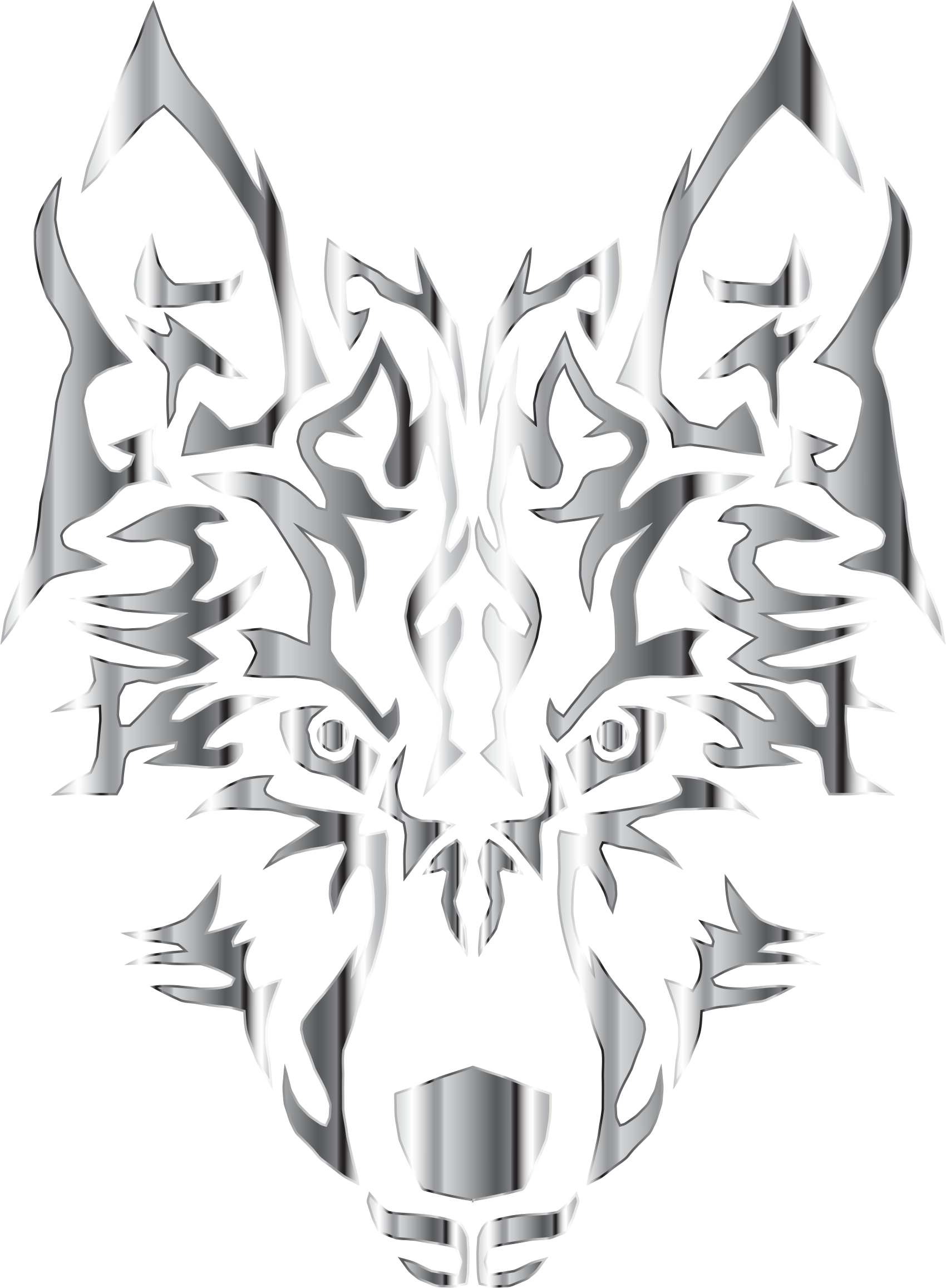 Design clipart wolf. Chrome symmetric tribal no