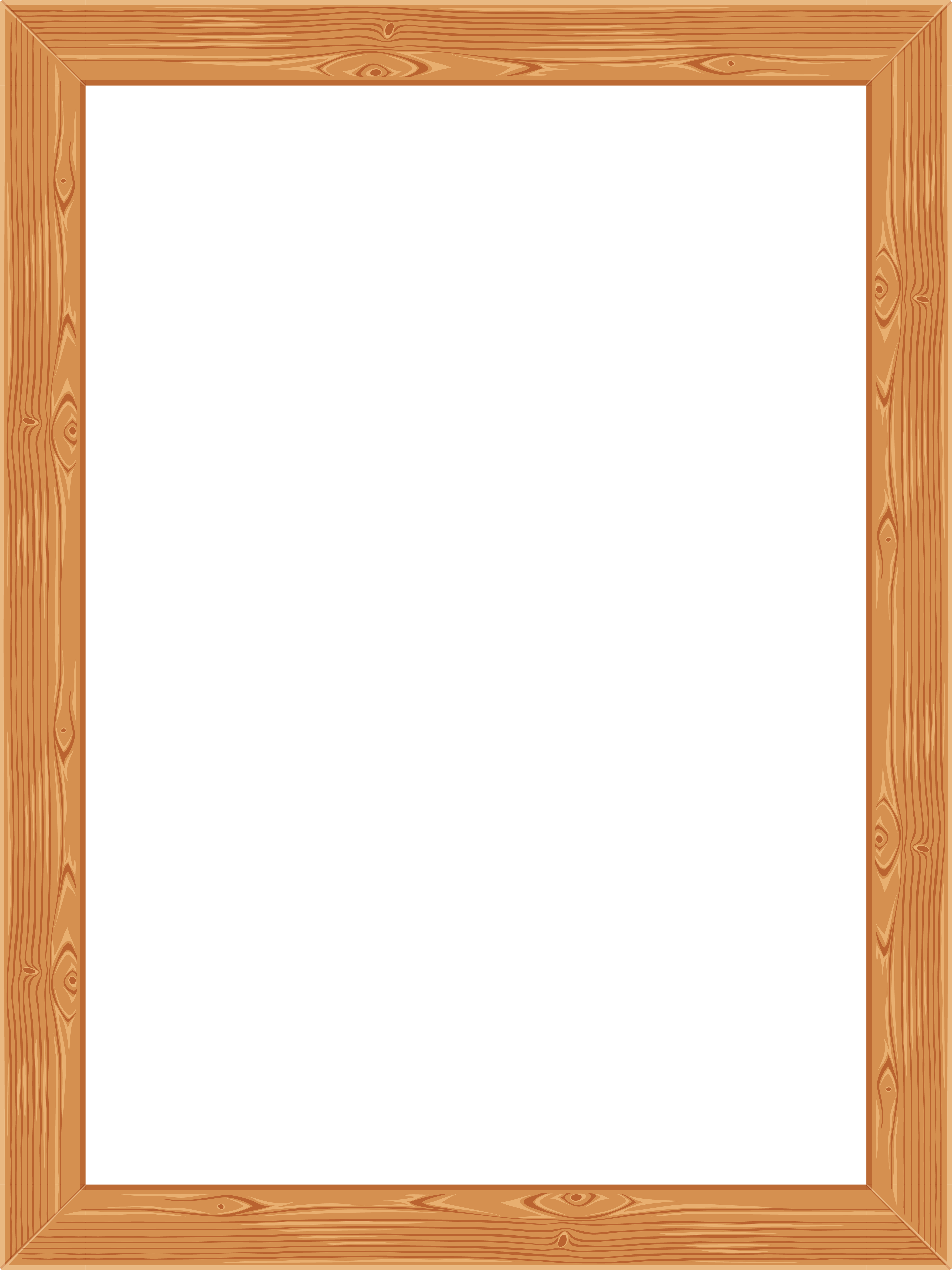 Transparent classic wooden image. Picture frame png
