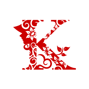 Flower red alphabet k. Clipart designs