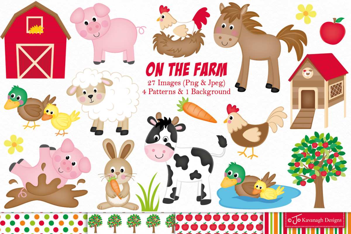 Farm animals graphics illustrations. Farming clipart farmyard animal