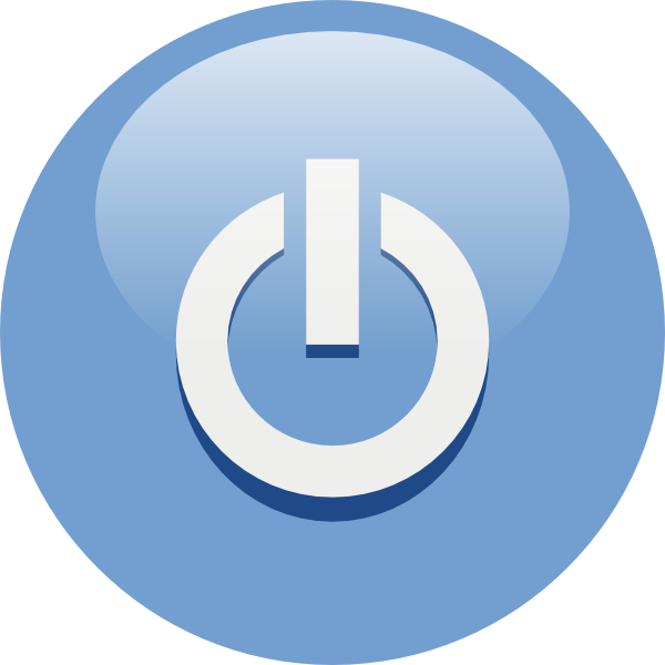 Blue power button png. Electric clipart computer