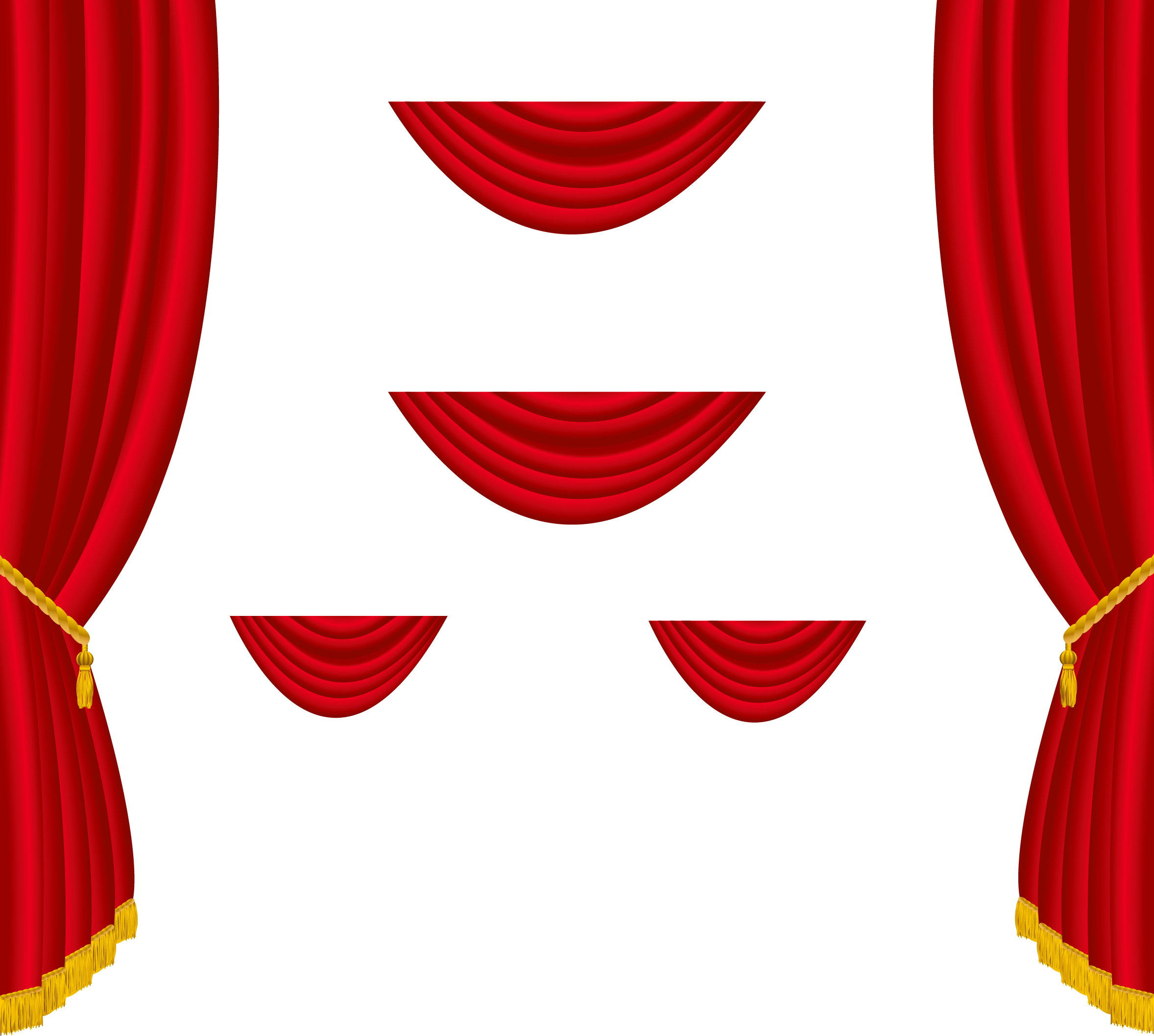 Curtains clipart side. Transparent red decoration png