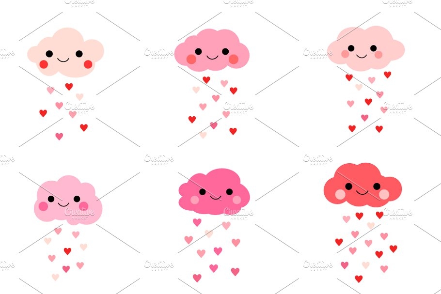 Clouds clipart cute. Love with hearts