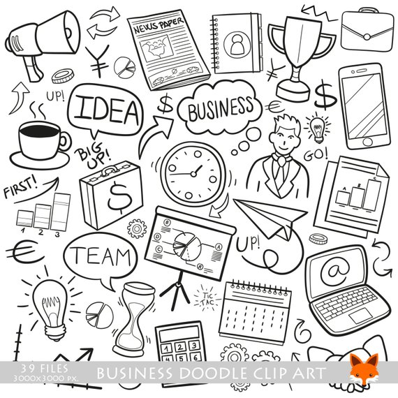Financial clipart cute. Business work doodle icons