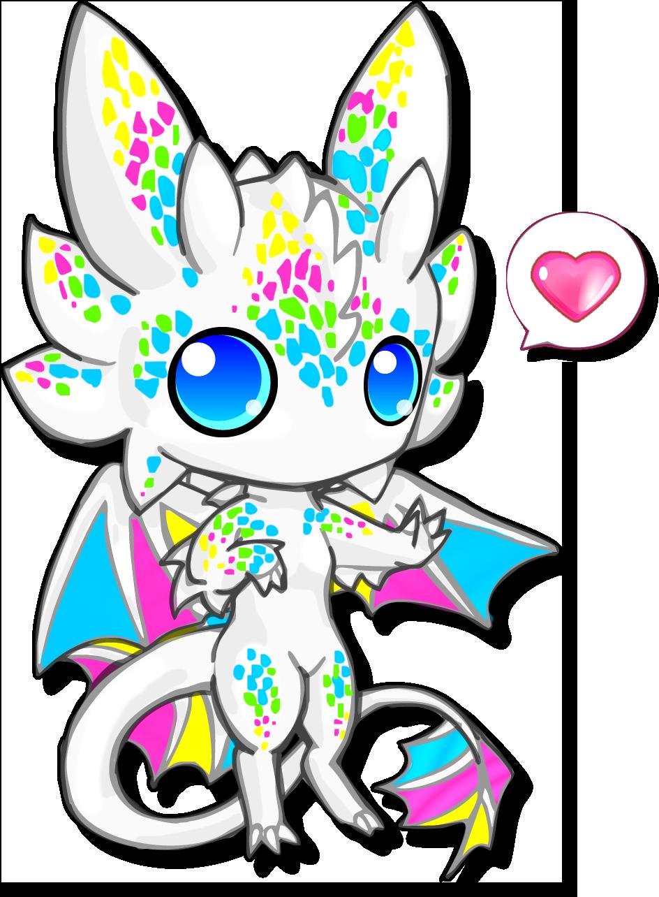 Chibi cute white best. Tired clipart dragon