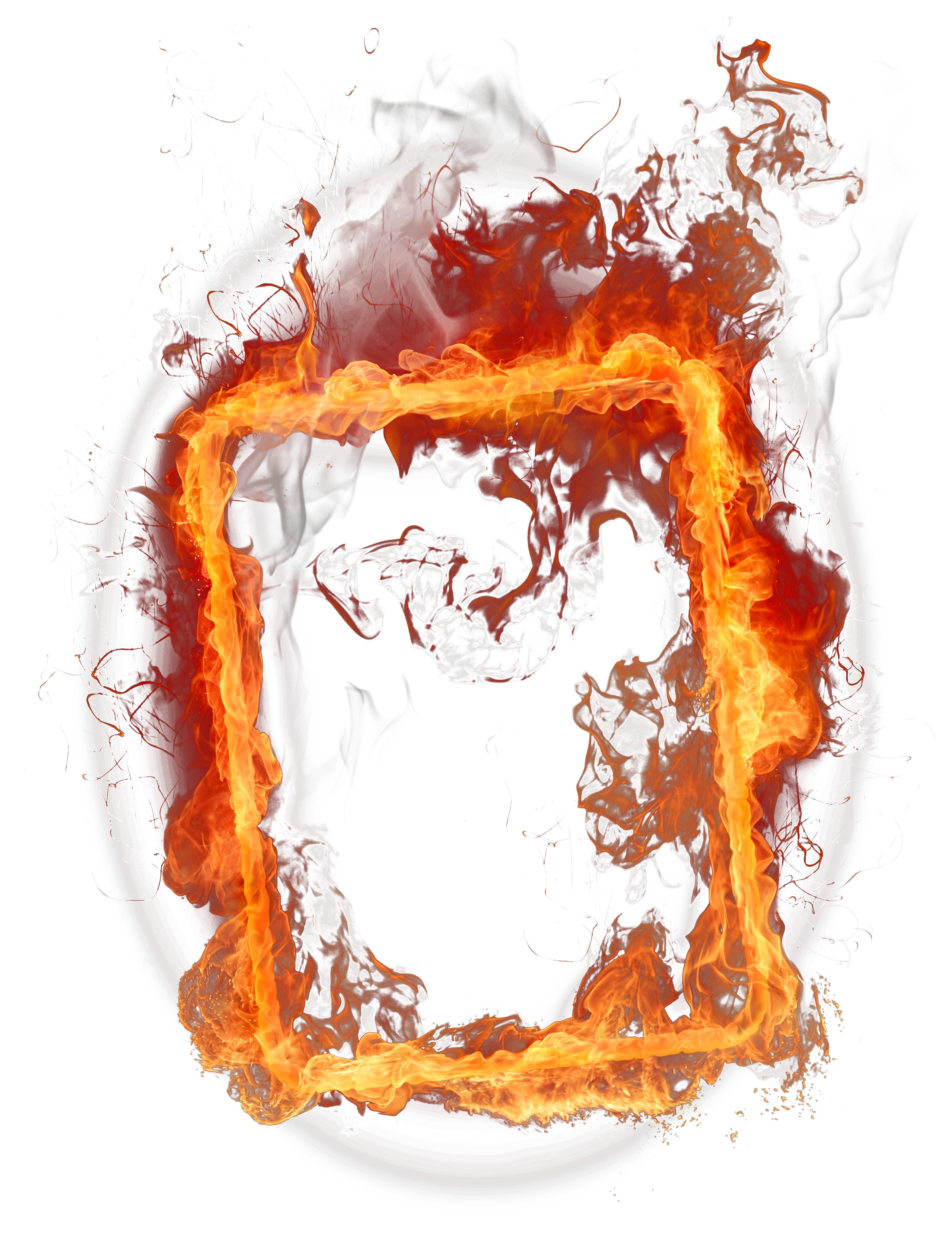 One isolated stock photo. Fire frame png