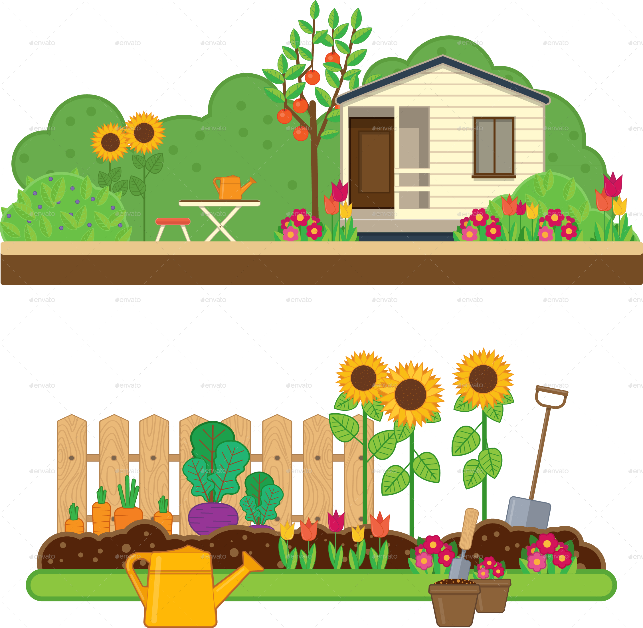 Gardening clipart transparent. Set by sabina s