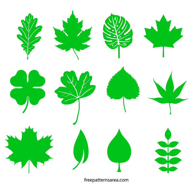 Clipart trees shape. Leaf silhouette vectors and