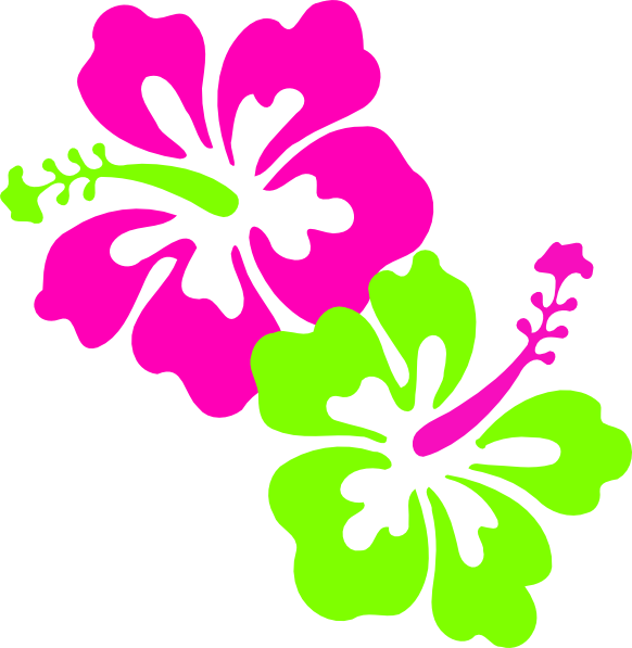 Clipart designs green. Hibiscus pink lime clip
