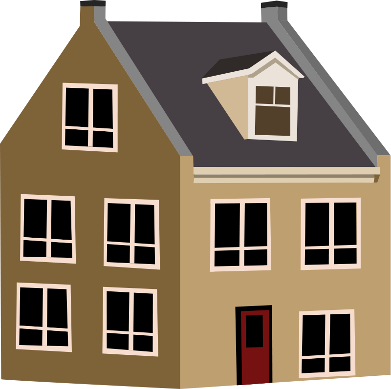 Free village house clip. Houses clipart brown