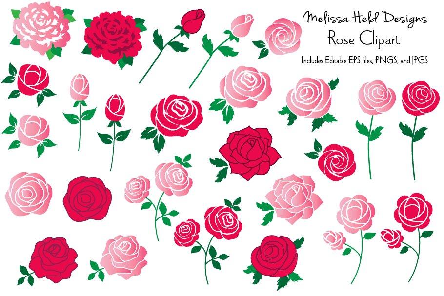 Rose . Clipart roses illustration