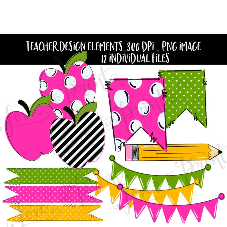 Clipart designs teacher. Design elements apple sublimation
