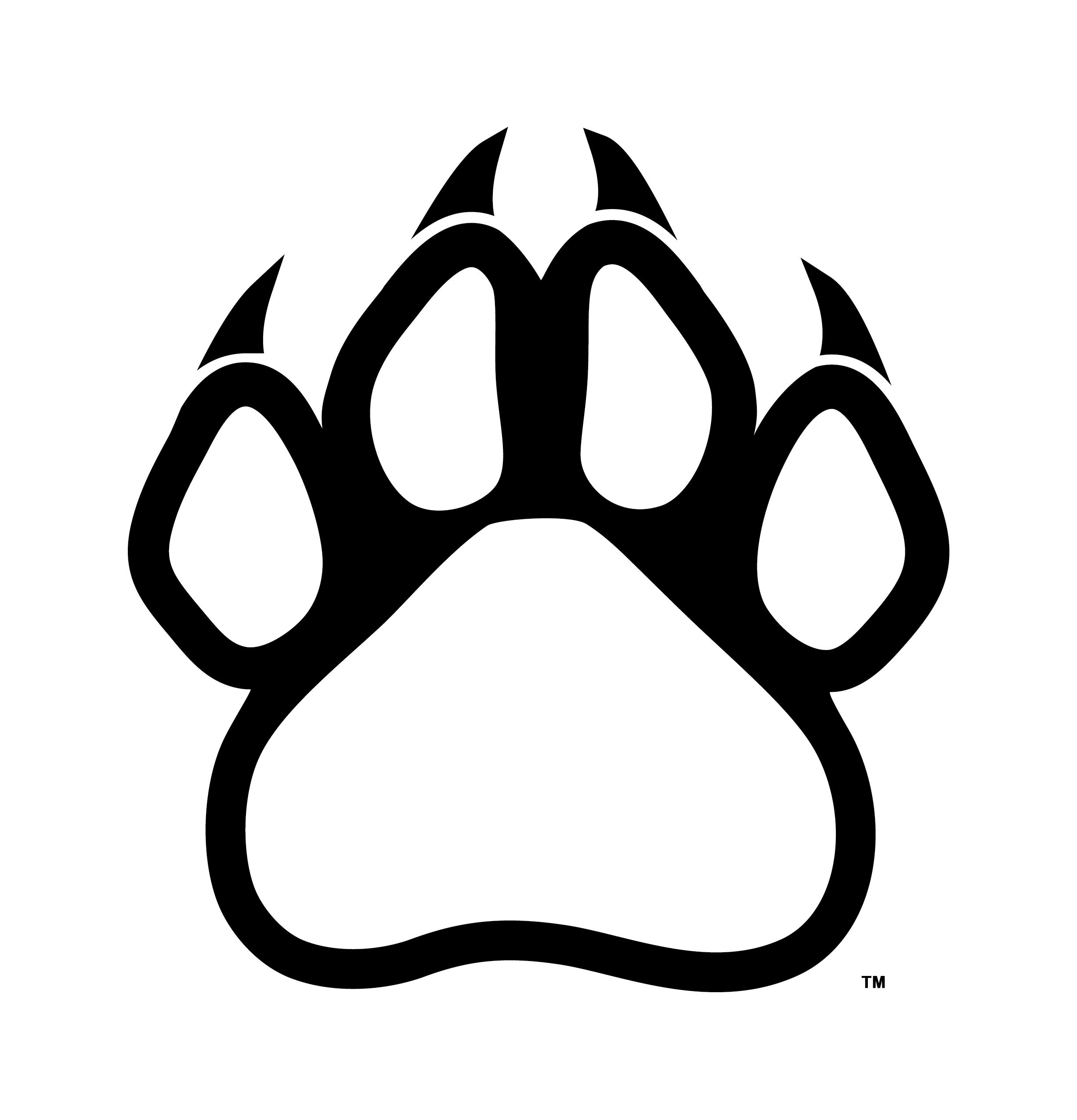 Paw print outline clip. Clipart football wolf