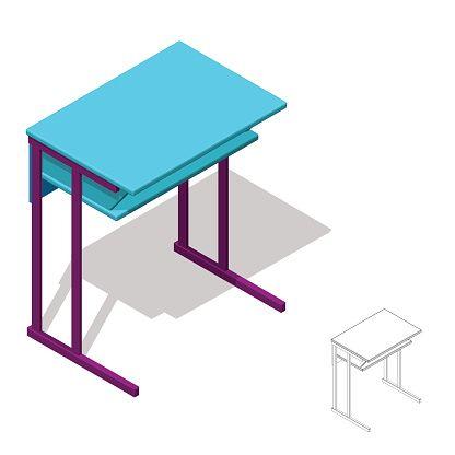 Isolated on white d. Clipart desk 3d school