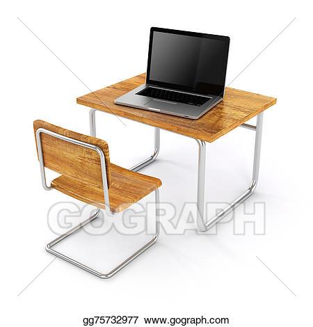 Clipart desk 3d school. Drawing d and laptop